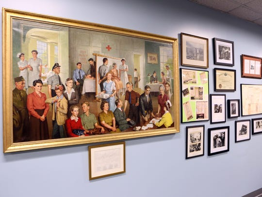 Historical photos and paintings displayed for the 100th anniversary of the Finkelstein Memorial Library April 18, 2017 in Spring Valley.
