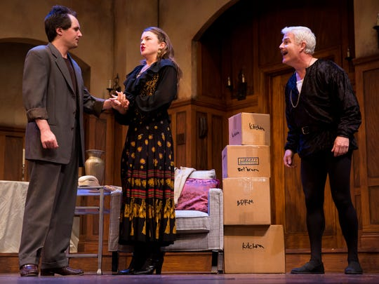 "Andrew Rally, from left, an aspiring actor in New York City who is offered the role of Hamlet, speaks with his girlfriend Deirdre McDavey while the ghost of John Barrymore listens with a smile during a dress rehearsal for the Naples Players upcoming comedy ""I Hate Hamlet,"" at the Sugden Community Theatre Monday April 17, 2017 in Naples. The play opens Wednesday, April 19th."