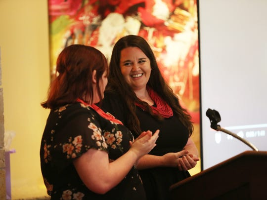 Hailey Wright (left) and Jamie Rosseland, Rethreaded employees, spoke at the Zonta Club banquet.