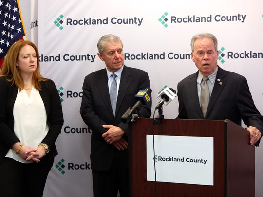 County Exective Ed Day talks about opioid crisis as Dr. Susan Hoerter, medical director for the Rockland County Department of Mental Health, and District Attorney Thomas Zugibe look on April 24, 2017 in New City.