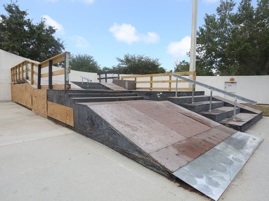 The skate park features wooden ramps that need regular maintenance due to Florida's humid weather.