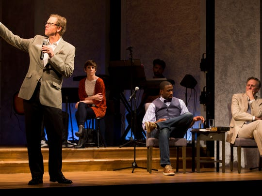 Pastor Paul, left, played by Alan Campbell, speaks to his congregation during a dress rehearsal for the upcoming production The Christians Tuesday, April 25, 2017 at the Norris Community Center in Naples. The Christians opens this Saturday at the Norris Community Center. The intimate play asks questions about faith and its power to unite or divide us.