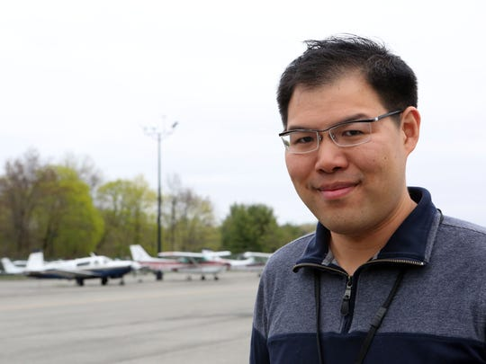 Purchase resident Jonathan Wong, who keeps his private plane at the Westchester County Airport , April 26, 2017.