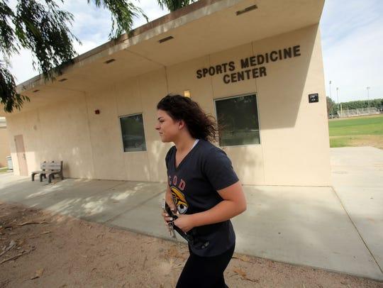 College of Desert student Morgan Decker leaves the