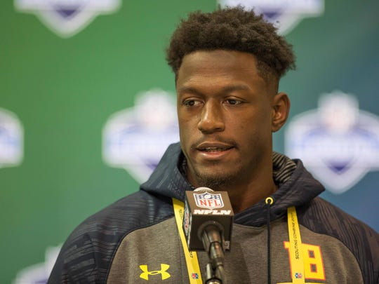 South Florida Bulls running back Marlon Mack speaks to the media during the 2017 combine at Indiana Convention Center.