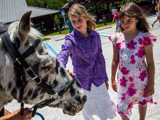 "Sisters Izzy, 12, left, and Maggie Lowers, 10, of Naples say goodbye to Pick-A-Spot ""Pickett"" during a retirement ceremony at Naples Therapeutic Riding Center on Sunday, April 30, 2017. The two horses, Pickett and Ted, have 18 years combined service at the center and are retiring to a ranch in Texas."