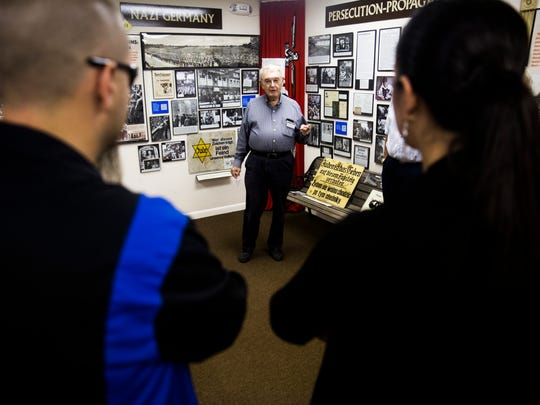 Ron Agronin, docent for the museum, gives a guided tour at the Holocaust Museum and Education Center of Southwest Florida in November 2016 in North Naples.