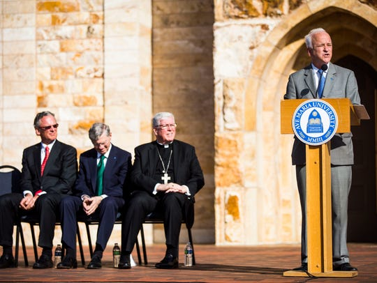 Ave Maria University President Jim Towey addresses