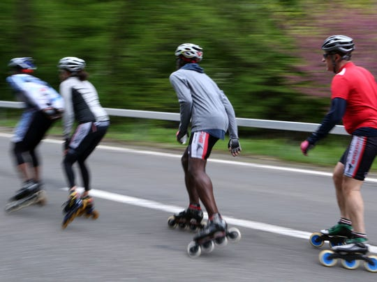 Rollerbladers on opening day of the 43rd annual Bicycle Sundays on the Bronx River Parkway May 7, 2017. For 2019, Bicycle Sundays will begin May 5.