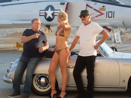 """""""Senior Moment"""" a movie starring William Shatner, at left and Christopher Lloyd, far right, started filming in Palm Springs and various places across the desert in late April and wraps up May 20th. This scene was filmed at the Palm Springs Air Museum on May 5, 2017."""