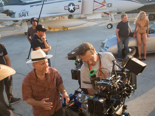 """""""Senior Moment"""" a movie starring William Shatner, pictured here leaning on car and Christopher Lloyd, not in photograph, started filming in Palm Springs and various places across the desert in late April and wraps up May 20th. This scene was filmed at the Palm Springs Air Museum on May 5, 2017."""