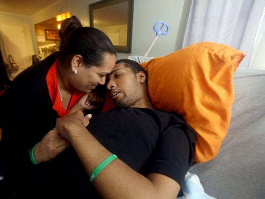 Muriel Daniel spends time with her son Jyrel, 22, in