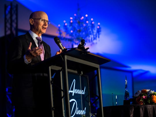 President and CEO Michael Dalby delivers the opening remarks during The Greater Naples Chamber of Commerce Annual Dinner on Thursday, May 11, 2017 at The Ritz-Carlton Golf Resort. This much anticipated annual event recognizes, and celebrates, the past yearÕs Chamber work by its staff and members.
