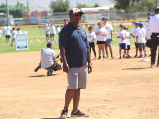 Former Angels General Manage Tony Reagins supervises an Major League Baseball funded clinic for kids in Indio on May 13, 2017 at the Davis Sports Complex in Indio.