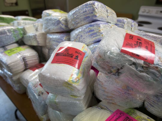 Packaged diapers at Sweet Cheeks Diaper Bank in Over-The-Rhine