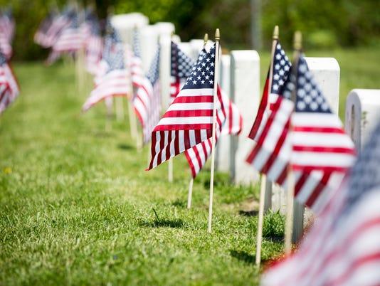 Memorial Day flags Beech Grove Cemetery