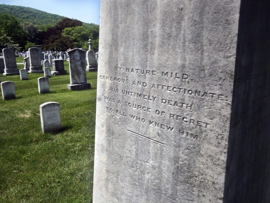 An inscription on a gravestone at the West Point Cemetery