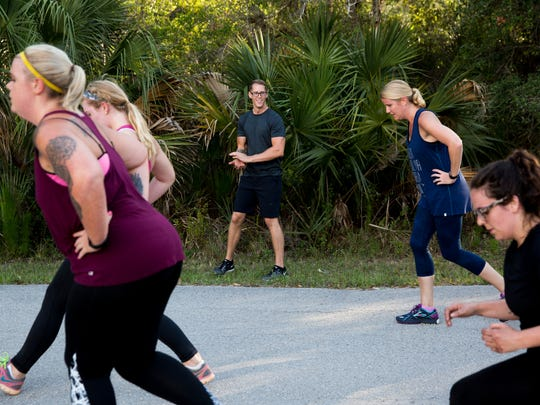 Personal trainer Johnathan Blevins has taken years of fitness experience and created a boot camp-style program for those seeking a different type of exercise at Koreshan State Historic Site on Monday, May 22, 2017, in Estero, Fla. Blevins' routines change from day to day but usually feature plenty of cardio.