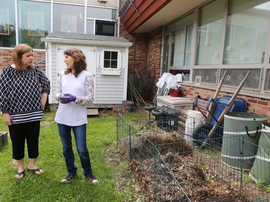 Barbara Miglio, speech language pathologist, and parent Sara Sellitti are coordinators of the Compost Kids Initiative at Springhurst Elementary School in Dobbs Ferry.
