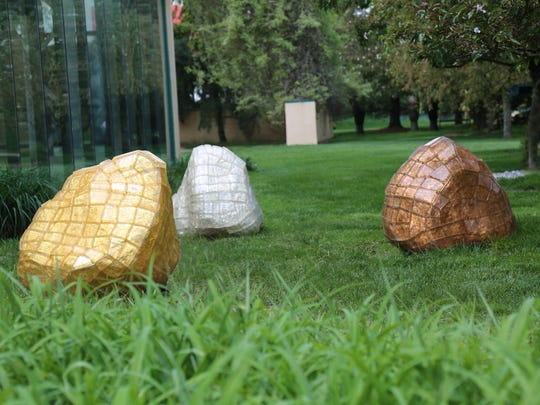 Grounds for Sculpture hosts Daniel Clayman's 'North 41.47º  West 71.70 º.' a 2015 work in gold leaf and glass.