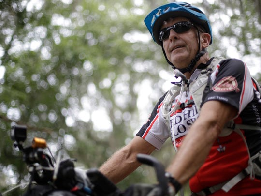 Local cyclist Rick Ashton poses on Old Centerville Road May 29 after a morning of training for the Tour Divide mountain bike race.
