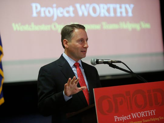 Westchester Count Executive Robert Astorino speaks at the Project Worthy Opioid Conference at the Westchester County Center in White Plains on Jun. 7, 2017.