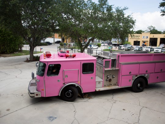 With a fresh coat of pink paint the fire engine, which was donated to Pink Heals of Southwest Florida, awaits it's departure from Maaco Collision Repair & Auto Painting Thursday, June 8, 2017 in Naples. The engine will travel to Jacksonville, Fla., then to San Antonio, Texas, where it will be driven to Guadalajara, Mexico.