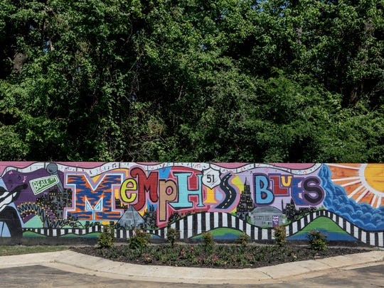 A mural at the Memphis Blues manufactured home community