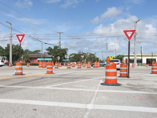 A temporary roundabout is currently directing drivers around the intersection.