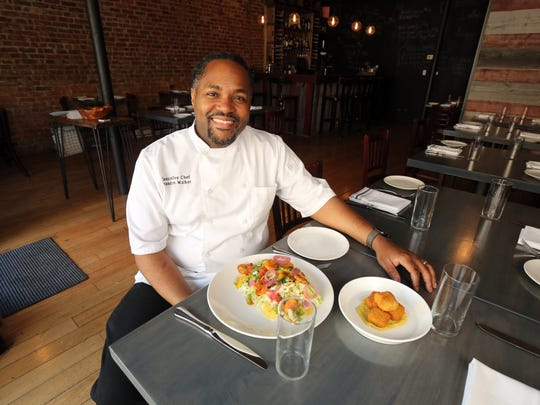 Chef/owner Brandon Walker is pictured at his Essie's Restaurant on Mount Carmel Place in Poughkeepsie, June 13, 2017.