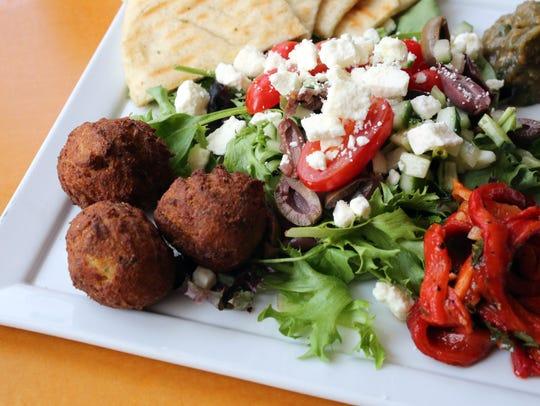 The Daphnis salad: baba ganoush, grilled pita, tomato,