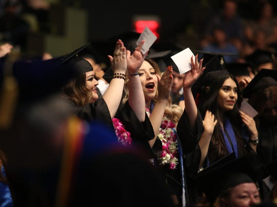 Graduates from Cal State San Bernardino Palm Desert Campus Class of 2017 attend their graduation ceremony on Thursday, June 14, 2017, at The Show in Rancho Mirage.
