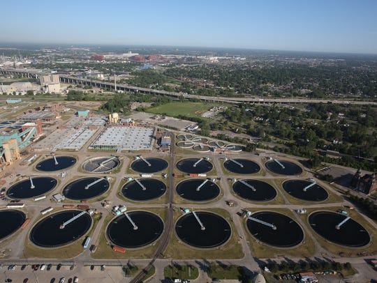 Aerial View of the waste water treatment plant in Detroit
