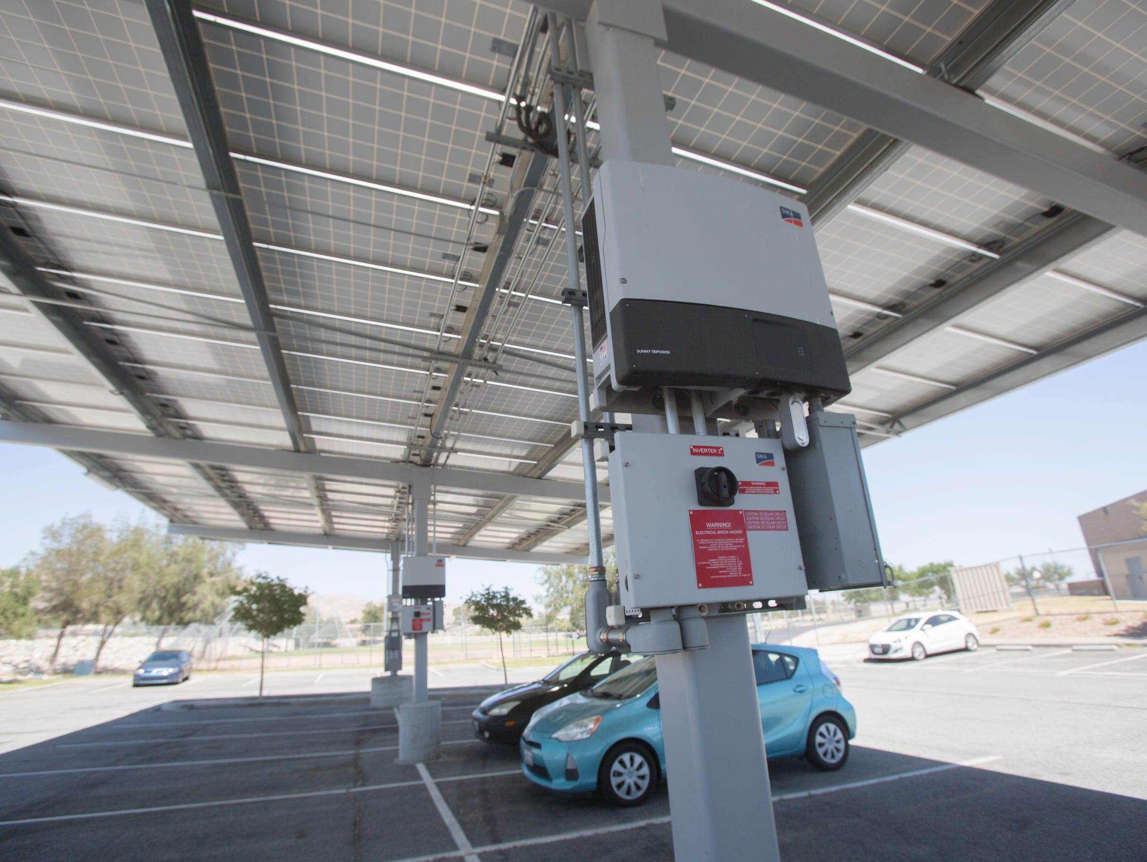 Solar panels in the north parking lot at Desert Hot