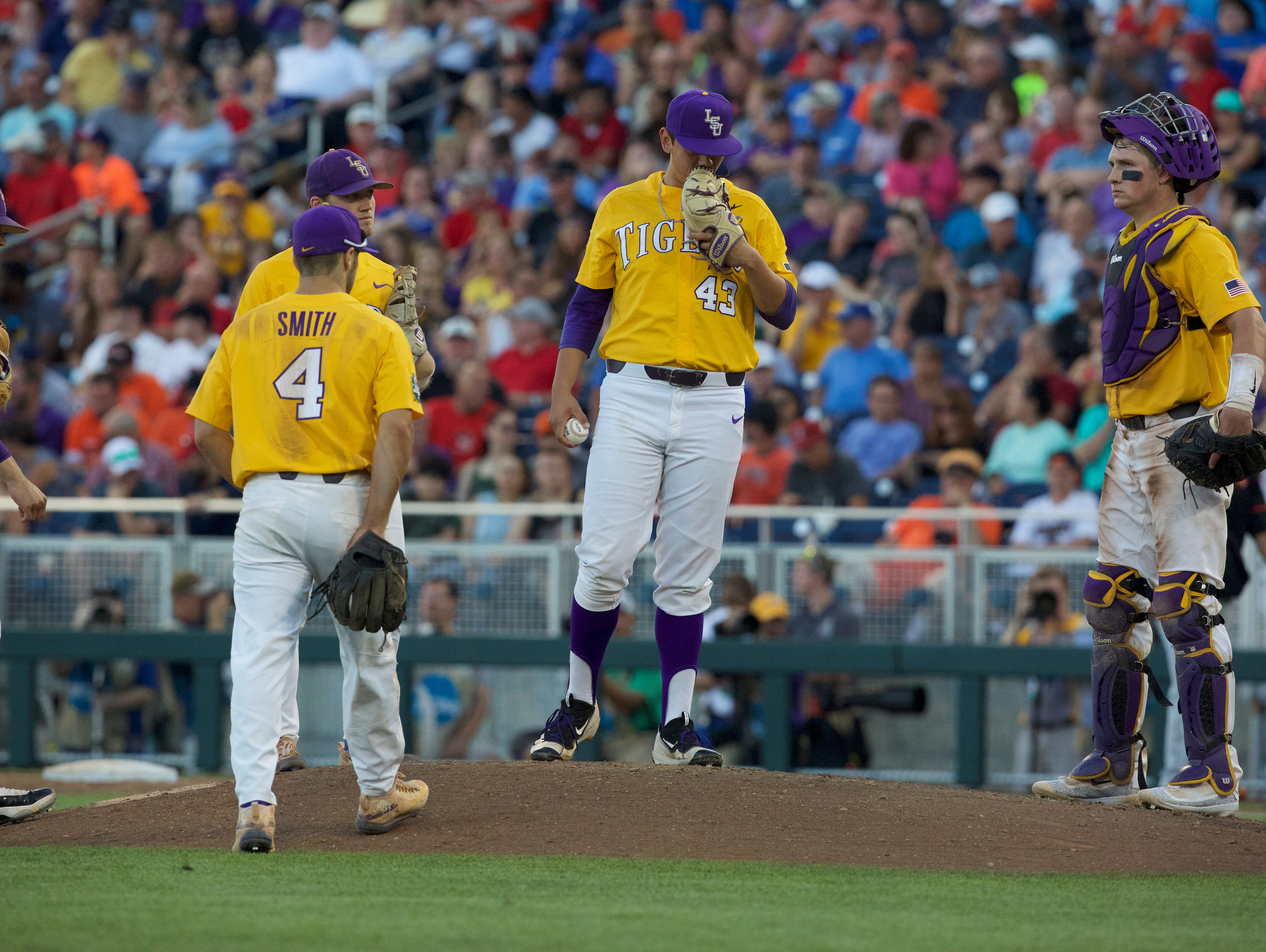 Jun 19, 2017; Omaha, NE, USA; LSU Tigers pitcher Todd Peterson (43) leaves the mound during the game against the Oregon State Beavers in the sixth inning at TD Ameritrade Park Omaha. Mandatory Credit: Bruce Thorson-USA TODAY Sports