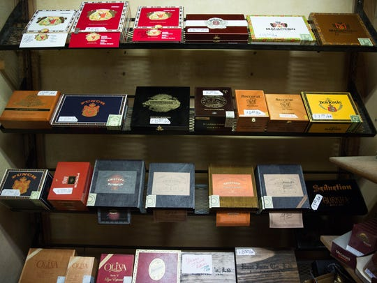 A selection of cigars at Lucas Pipe and Tobacco shop