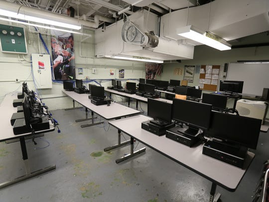 A computer room in the basement is pictured at Gorton High School in Yonkers, July 17, 2015.