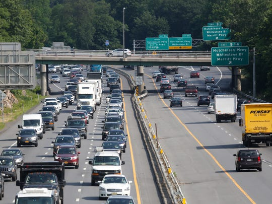 Traffic moves slowly during the afternoon rush along