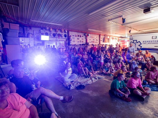 Supporters pack the Humeston Fire Department to watch