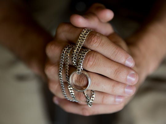 "Spenser Luther, 19, carries his ""second chance ring"""