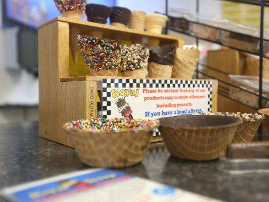 A countertop in Royal Scoop Homemade Ice Cream, Bonita Springs, on Thursday, June 29. The ice cream shop is hosting a new flavor contest, with voting open until Monday, July 3.