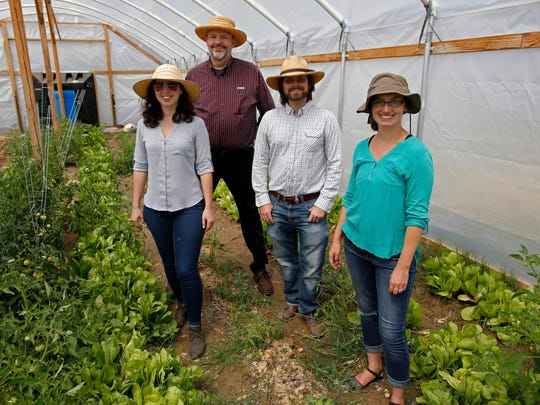 New Mexico State University alumna Lea WiseSurguy-Sophiliazo, left, Patrick DeSimio-Sophiliazo, center right, are joined by NMSU chef and assistant professor Pete Mitchell, center left, and Niki Harings, co-owner of Taylor Hood Farms and post-doctoral researcher in Fishery and Wildlife Sciences at NMSU, in a greenhouse at Taylor Hood Farms. They are all part of MESA Project, designed to share knowledge and build partnerships that can help the Doña Ana County farming community address its environmental challenges.