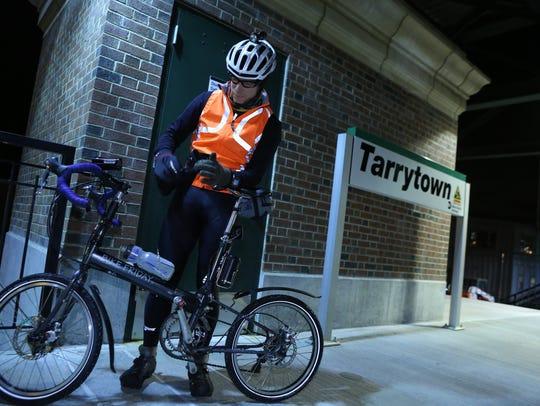 Dr. Scott Bernstein prepares to ride his bike from