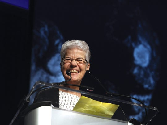 Sister Mary Mollison, CSA, receives the Lifetime Achievement Award at the 2015 Catholic Health Assembly.