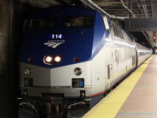 The 7:30 a.m. Amtrak train from Albany arrives at Grand