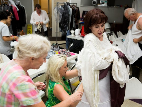 Carole Fenstermacher, playing Grandma Ethel, from left,