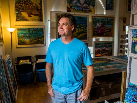 Local artist Thom Millsap in his art studio in Naples