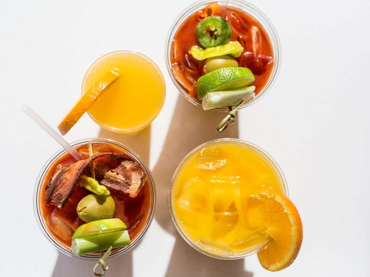 A selection of drinks and breakfast cocktails from Scramble — a Breakfast & Lunch Joint.