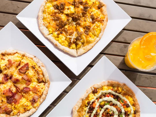 Breakfast pizzas, or Brizzas, from Scramble — a Breakfast & Lunch Joint.