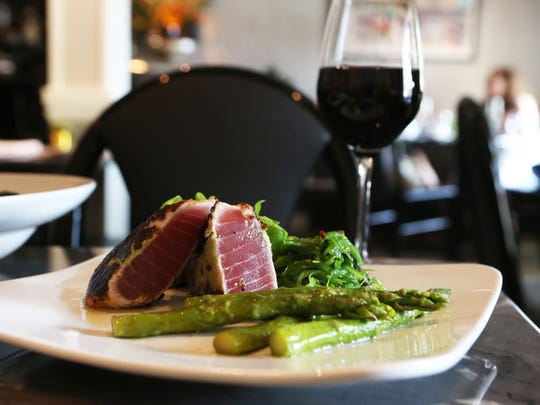 Wasabi crusted bigeye tuna with seaweed salad, roasted